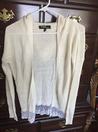 Sugar rush girls ivory/cream colored sweater with lace bottom. Size large.$15 West Jordan