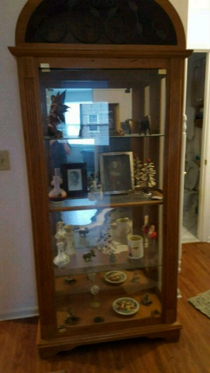 used brown wooden frame glass display cabinet for sale in west long rh us letgo com