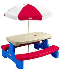 Taupe and red Little Tikes picnic table with umbrella 254 mi