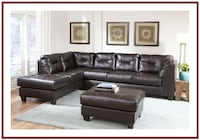 Chocolate Brown Sectional Couch with Chaise Baltimore