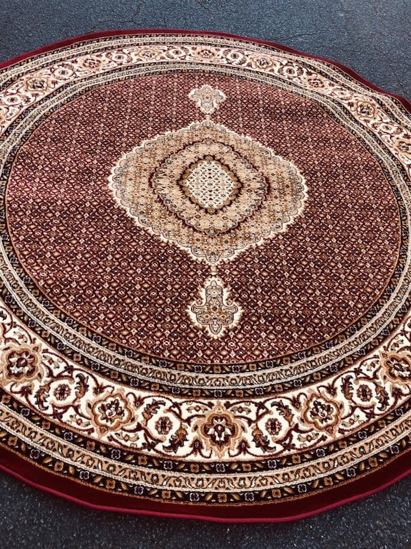 New Turkish Round rug size 8x8 circle carpet red burgundy Persian rugs 68112ced-810a-4167-8a62-9f9302033e1c
