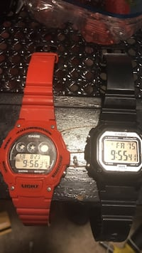 red and black Casio digital watches