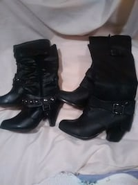 two pairs of black leather round-toe cone-heeled knee-high boots Ajax, L1S 5W5