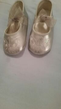 pair of brown leather mary jane shoes