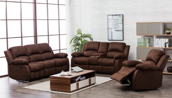 used 20200 chocolate microfiber 3 piece reclining living room set for sale in missouri city letgo. Black Bedroom Furniture Sets. Home Design Ideas