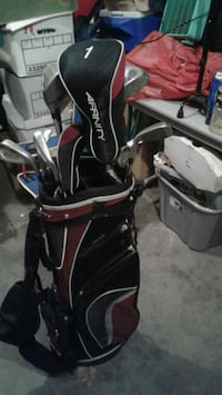 black and red golf bag