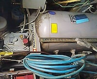 gray and blue electric water heater