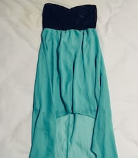 blue and black tube high-low dress