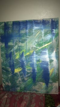 blue, green, and yellow abstract painting 210 mi