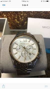round silver Michael Kors chronograph watch with link bracelet Whitehouse, 75791