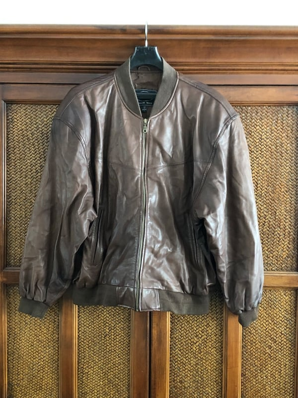 Men's brown leather jacket 0