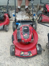 red and black push mower 69 km