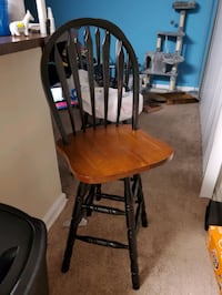 2 Brown and Black Wood Bar Stools with Cushions Columbia, 21045