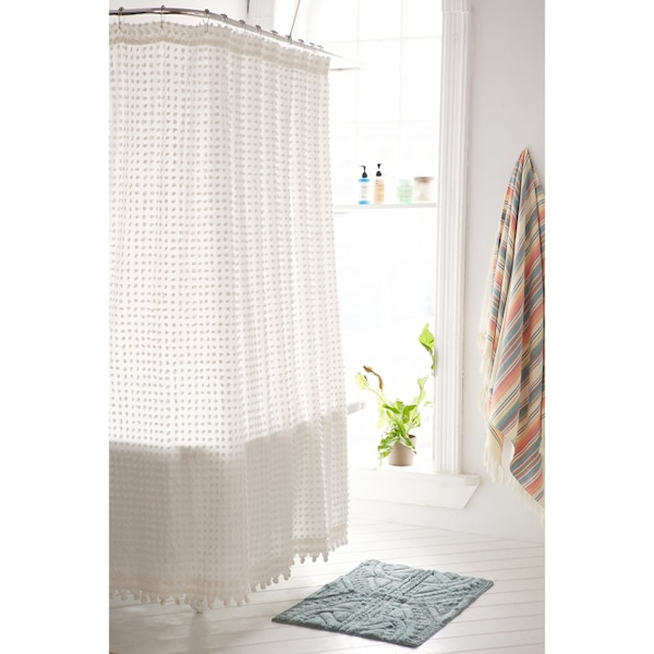 Used Urban Outfitters Plum Bow Pompom Dot Shower Curtain For Sale In San Jose