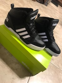 pair of black Adidas high-top sneakers with box Brampton, L6X 0P8