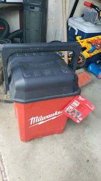 black and red Milwaukee tool box