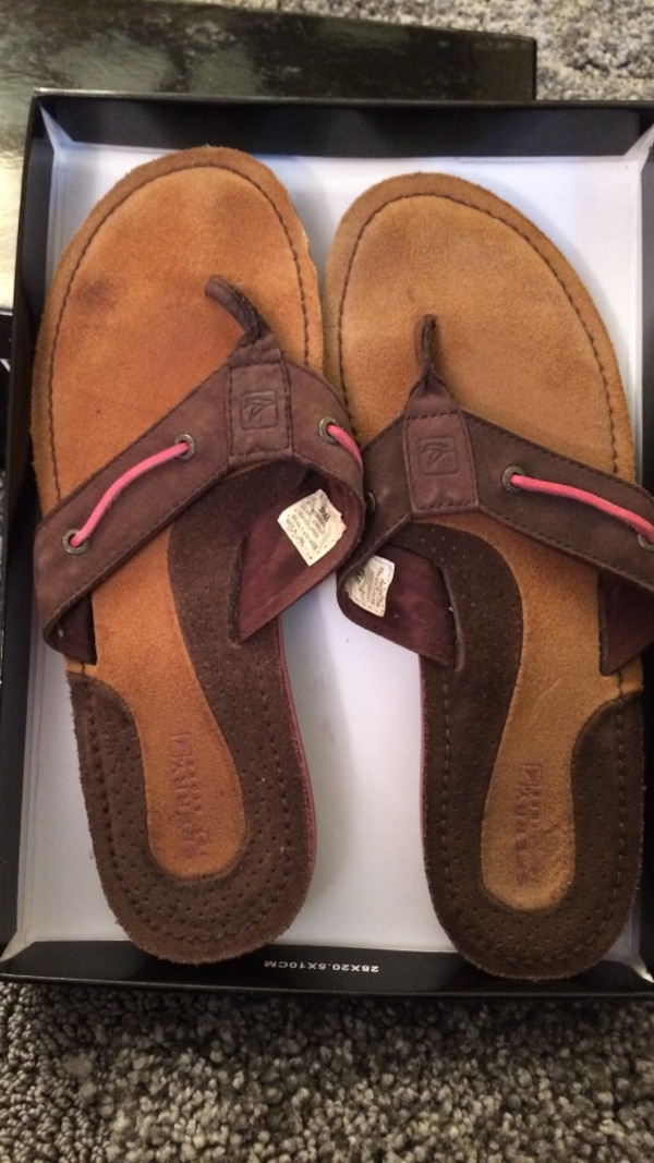 33807cad8 Used Brown suede flip flops. These are my sisters shoes