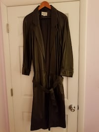 Full Length Leather Coat W/Strap Belt Lewes