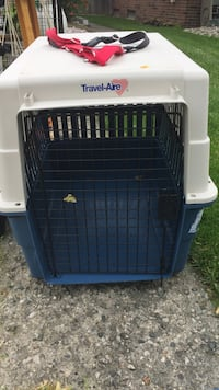 White and blue Travel-Aire portable pet carrier