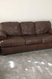 Brown  Leather Couch with Queen Sleeper