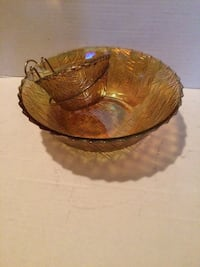 Carnival glass chip and dip bowl..