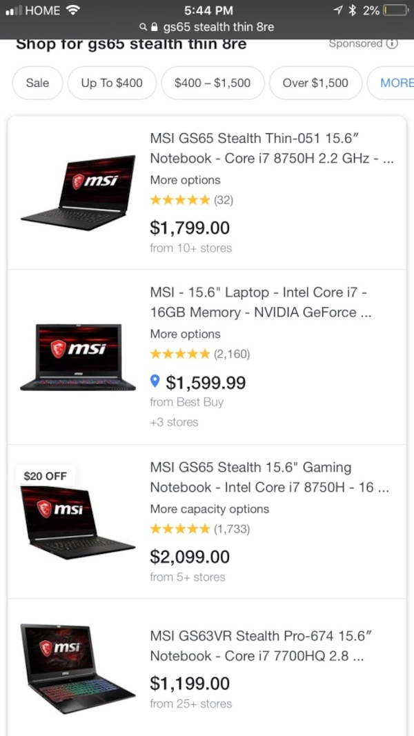 Used MSi gs65 stealth thin 8re-047us for sale in Brentwood - letgo