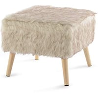HomePop Decorative Faux Fur Square Ottoman, Brown (New in Box) Fort Wayne