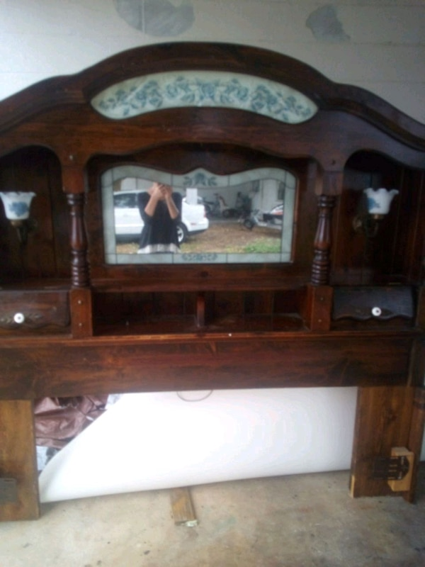 Used King Headboard With Mirrors Lights Shelves For Sale In Bradenton
