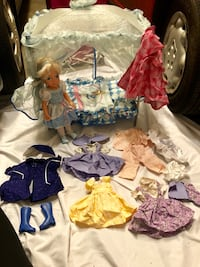Cinderella doll with trundle bed, keychain on bed, and a handmade wardrobe by my grandma a lifelong seamstress Forest Park, 60130