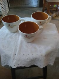 three white-and-brown ceramic teacup Cleveland