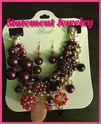 Burgundy beaded necklace and earrings
