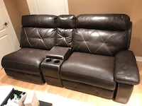 Brown leather sofa couch very clean recliner Vaughan, L4H 1L8