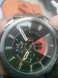 round black chronograph watch with black leather strap Calgary, T2H 0K6