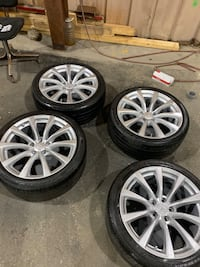 """These. G37 sport wheels oem 19"""" infinite  rims and tire 2 tires  will need to be replaced soon but all hold air"""