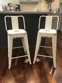 """Rustic farmhouse style counter height (24"""" tall from floor to seat) barstools with backs. $85/both  Bourbonnais, 60914"""