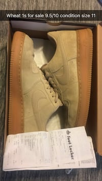 pair of size 11 wheat Nike Air Force 1 low shoes with box screenshot