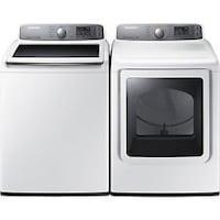 white and black washer and dryer set