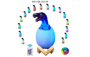 3D Dinosaur Night Light, Remote Pat Touch Control, 16 Colors BRAND NEW