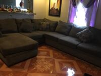 gray suede sectional sofa