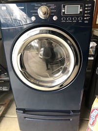 Blue LG gas dryer with pedestal Arlington Heights, 60004
