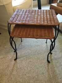 Two wicker nesting side tables with iron legs 46 km