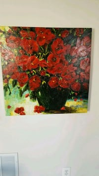 Red Flowers Black Vase Print Leesburg