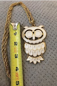 HUGE Vintage Gold Tone and White Ceramic Owl Necklace With Chain Danville, 03819
