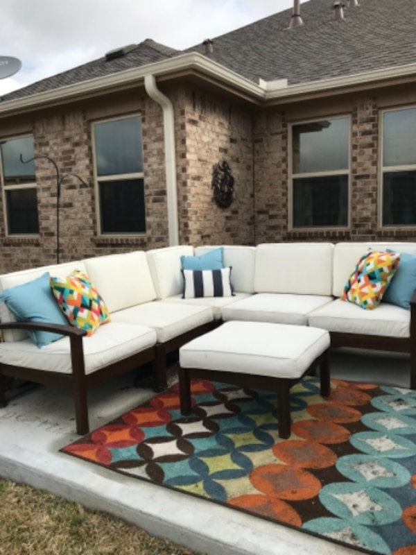 Outdoor sectional sofa with ottoman