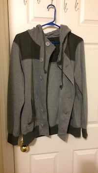 black and gray button-up hoodie jacket Mississauga, L4Z 4H4