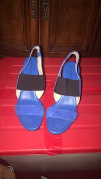 pair of blue-and-black sandals York, 17403
