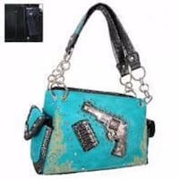 NWT Gun with Bullets Decorative Concealed Handgun Shoulder Bag-Turquoise Purse Omaha