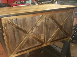 Handmade chest made out of cargo flooring