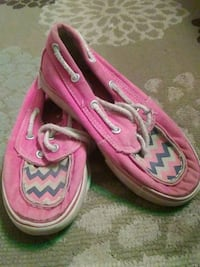 pair of pink-and-white chevron boat shoes Bixby, 74008