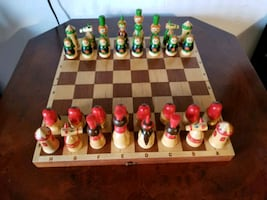 Vintage toy chess set very rare handmade and paint